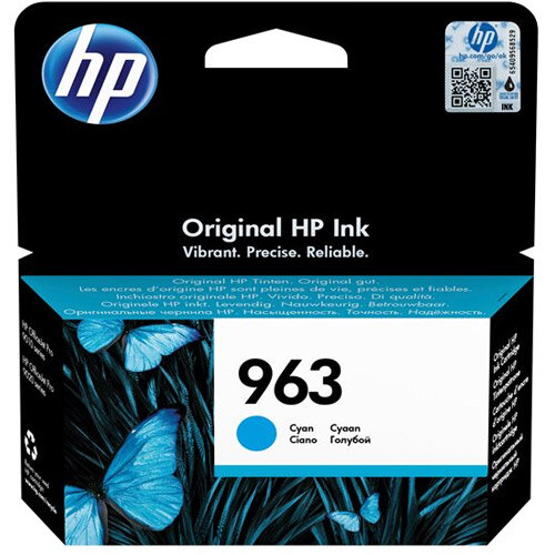 HP 963 - 10.74 ml - cyan - original - ink cartridge - for Officejet Pro 9010, 9012, 9013, 9014, 9015, 9016, 9019/Premier, 9020, 9022, 9023, 9025
