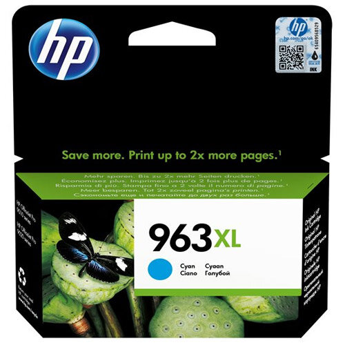 HP 963XL - 22.77 ml - High Yield - cyan - original - ink cartridge - for Officejet Pro 9010, 9012, 9013, 9014, 9015, 9016, 9019/Premier, 9020, 9022, 9023, 9025
