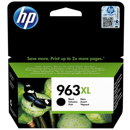 HP 963XL - 47.86 ml - High Yield - black - original - ink cartridge - for Officejet Pro 9010, 9012, 9013, 9014, 9015, 9016, 9019/Premier, 9020, 9022, 9023, 9025
