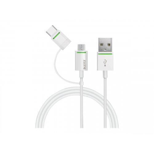 Leitz - USB cable - Micro-USB Type B, USB-C (M) to USB (M) - 1 m - white