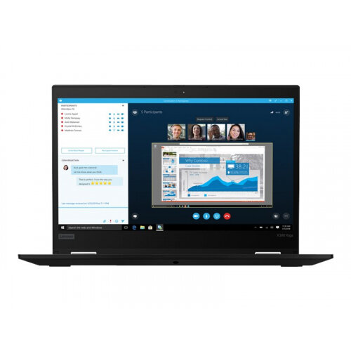 Lenovo ThinkPad X390 Yoga 20NN - Flip design - Core i5 8265U / 1.6 GHz - Win 10 Pro 64-bit - 8 GB RAM - 256 GB SSD TCG Opal Encryption 2, NVMe - 13.3&uot; IPS touchscreen 1920 x 1080 (Full HD) - UHD Graphics 620 - Wi-Fi, Bluetooth - black - kbd: English