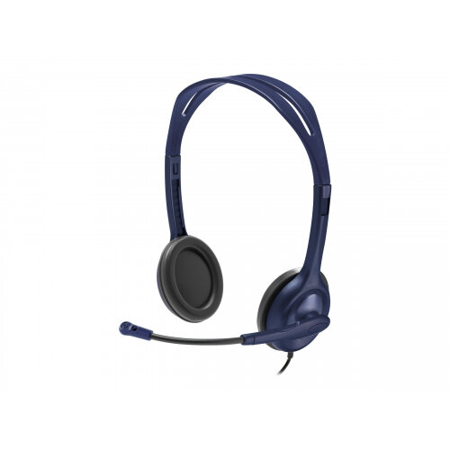 Logitech - Headset - on-ear - wired - 3.5 mm jack - midnight blue - academic (pack of 5)