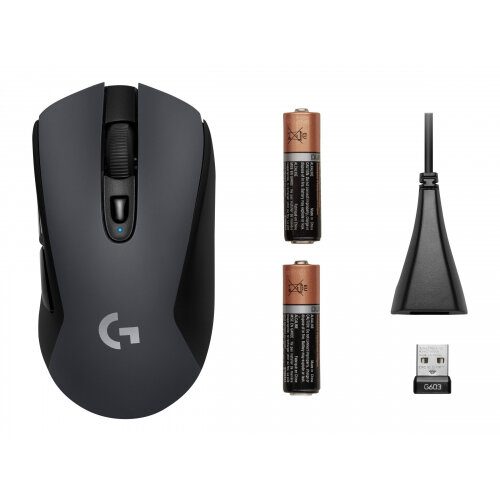 Logitech G603 - Mouse - optical - 6 buttons - wireless - Bluetooth, LIGHTSPEED - USB wireless receiver