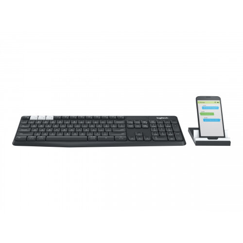 Logitech K375s Multi-Device - Keyboard - Bluetooth, 2.4 GHz - US International - graphite, off-white