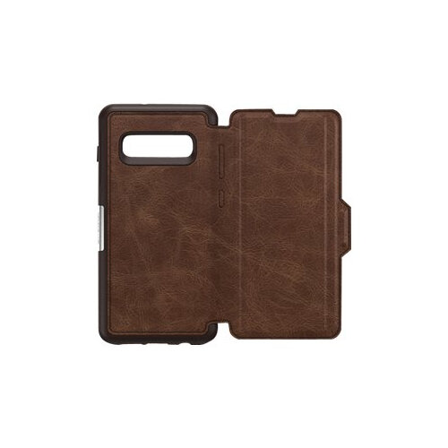 OtterBox Strada - Flip cover for mobile phone - leather, polycarbonate - espresso brown - for Samsung Galaxy S10+