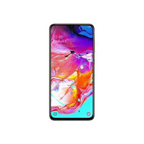 Samsung Galaxy A70 - Smartphone - dual-SIM - 4G LTE - 128 GB - microSDXC slot - GSM - 6.7&uot; - 2400 x 1080 pixels - Super AMOLED - RAM 6 GB (32 MP front camera) - 3x rear cameras - Android - Coral