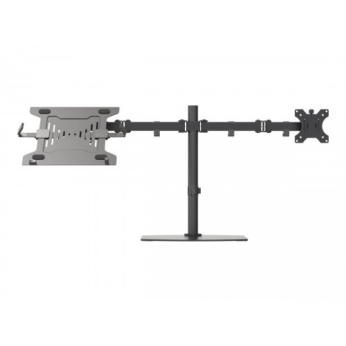 Vision VFM-DSDB+S - Mounting kit (desk stand, laptop shelf, monitor arm) for LCD display / notebook / tablet - steel - black - screen size: 13&uot;-27&uot;