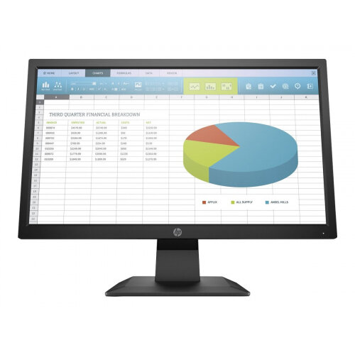 HP P204 - LED monitor - 19.5&uot; (19.5&uot; viewable) - 1600 x 900 HD+ - TN - 250 cd/m&up2; - 1000:1 - 5 ms - HDMI, VGA, DisplayPort - black