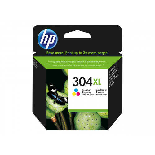 HP 304XL - High Yield - dye-based tricolour - original - ink cartridge - for AMP 130; Deskjet 26XX, 37XX; Envy 50XX