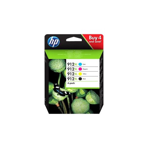 HP 912XL - 4-pack - High Yield - black, yellow, cyan, magenta - original - ink cartridge - for Officejet 8012, 8013, 8014, 8015; Officejet Pro 8020, 8022, 8024, 8025, 8035