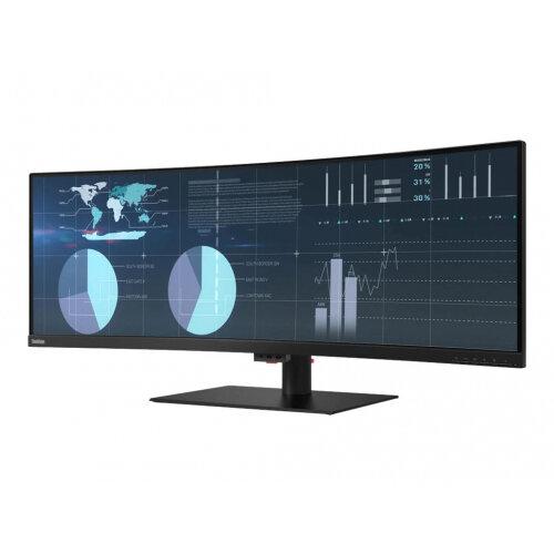 Lenovo ThinkVision P44w-10 - LED monitor - curved - 43.4&uot; (43.4&uot; viewable) - 3840 x 1200 - VA - 450 cd/m&up2; - 3000:1 - 4 ms - 2xHDMI, DisplayPort, 2xUSB-C - speakers - raven black