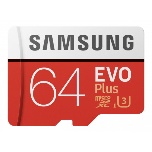 Samsung EVO Plus MB-MC64G - Flash memory card (microSDXC to SD adapter included) - 64 GB - UHS-I U3 / Class10 - microSDXC UHS-I