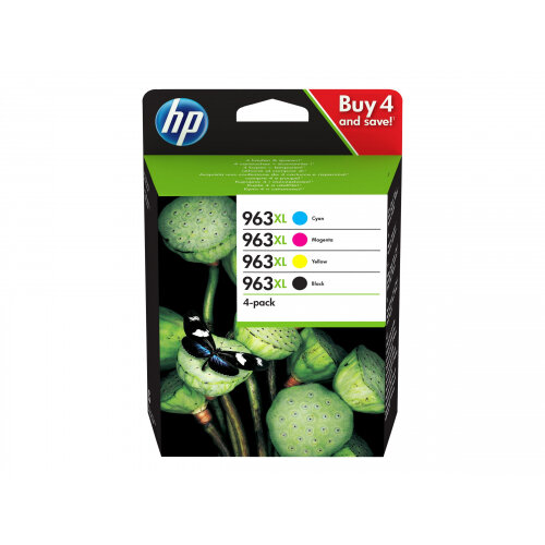 HP 963XL - 4-pack - High Yield - black, yellow, cyan, magenta - original - ink cartridge - for Officejet Pro 9010, 9012, 9013, 9014, 9015, 9016, 9018, 9019, 9020, 9022, 9023, 9025, 9028