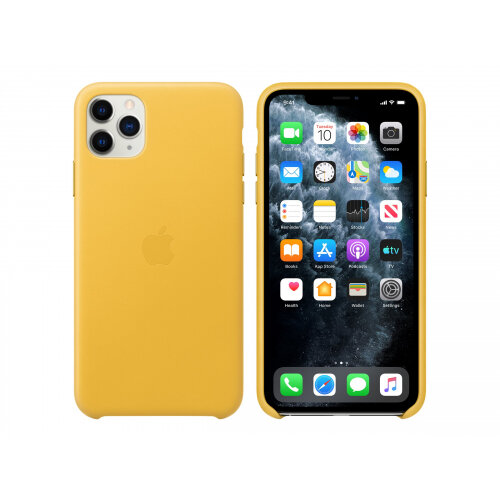Apple - Back cover for mobile phone - leather, machined aluminium - Meyer lemon - for iPhone 11 Pro Max