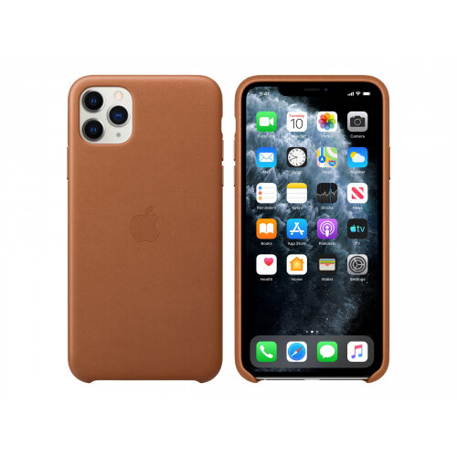 Apple - Back cover for mobile phone - leather, machined aluminium - saddle brown - for iPhone 11 Pro Max