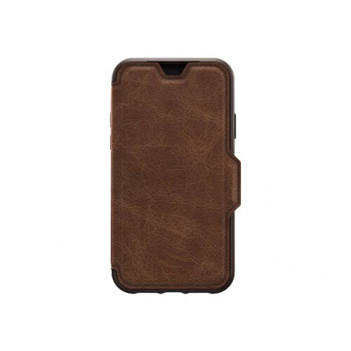 OtterBox Strada Series - Flip cover for mobile phone - leather, polycarbonate - espresso brown - for Apple iPhone 11
