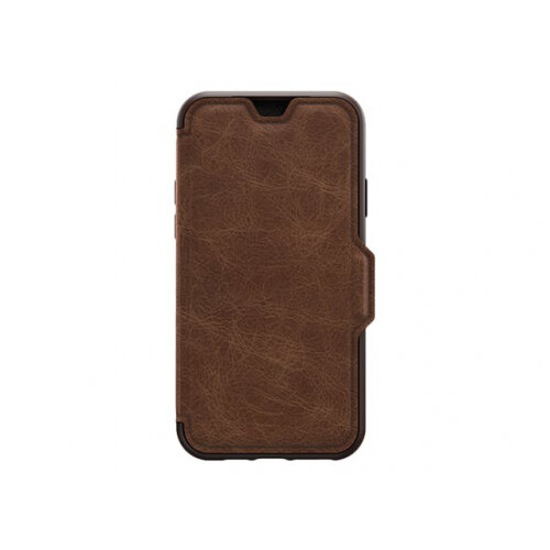 OtterBox Strada Series - Flip cover for mobile phone - leather, polycarbonate - espresso brown - for Apple iPhone 11 Pro Max