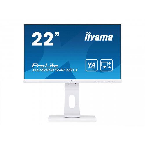 iiyama ProLite XUB2294HSU-W1 - LED monitor - 22&uot; (21.5&uot; viewable) - 1920 x 1080 Full HD (1080p) - VA - 250 cd/m&up2; - 3000:1 - 4 ms - HDMI, VGA, DisplayPort - speakers - matt white