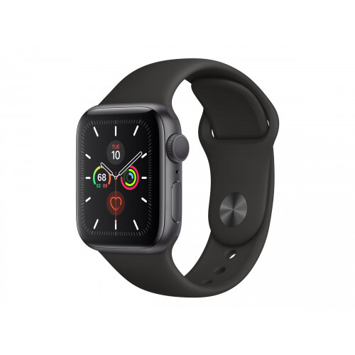 Apple Watch Series 5 (GPS + Cellular) - 40 mm - space grey aluminium - smart watch with sport band - fluoroelastomer - black - band size 130-200 mm - S/M/L - 32 GB - Wi-Fi, Bluetooth - 4G - 30.8 g
