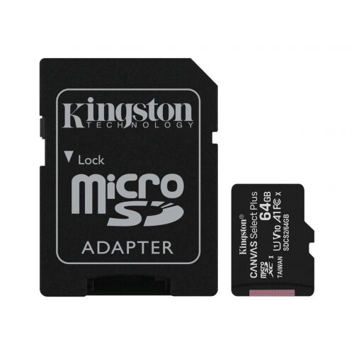 Kingston Canvas Select Plus - Flash memory card (microSDXC to SD adapter included) - 64 GB - A1 / Video Class V10 / UHS Class 1 / Class10 - microSDXC UHS-I