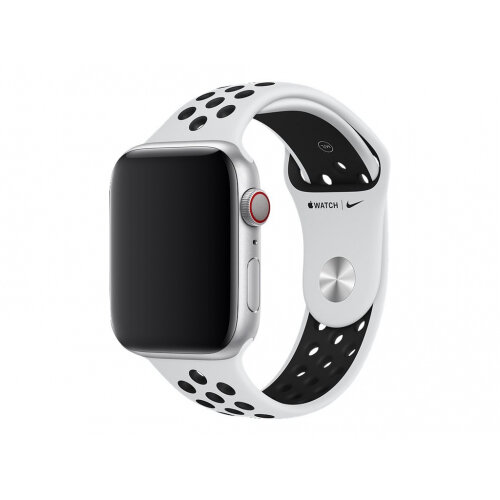 Apple 44mm Nike Sport Band - Watch strap - 140-210 mm - black, pure platinum - for Watch (42 mm, 44 mm)