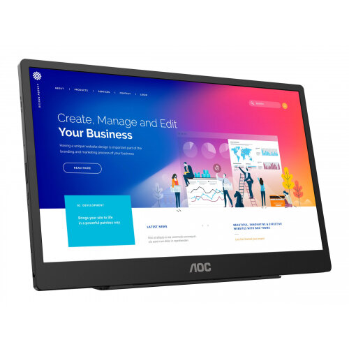 AOC 16T2 - LED monitor - 16&uot; (15.6&uot; viewable) - portable - touchscreen - 1920 x 1080 Full HD (1080p) @ 60 Hz - IPS - 250 cd/m&up2; - 700:1 - 4 ms - Micro HDMI, 2xUSB-C - speakers - black, silver