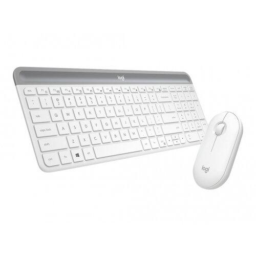 Logitech Slim Wireless Combo MK470 - Keyboard and mouse set - wireless - 2.4 GHz - QWERTY - UK - off-white