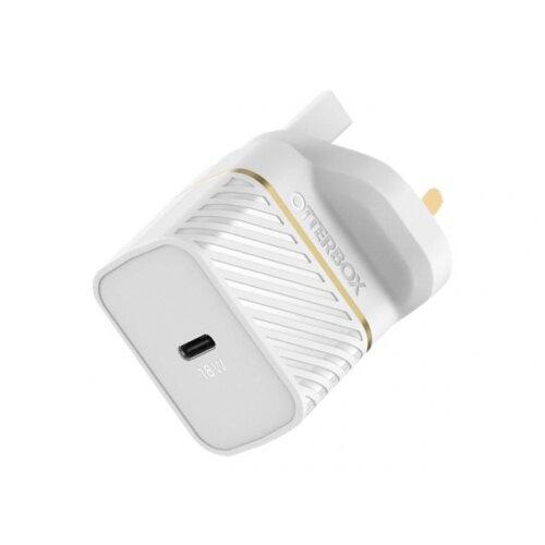 OtterBox Fast Charge Premium - Power adapter - 18 Watt - Fast Charge (USB-C) - cloud dust white - United Kingdom, Ireland