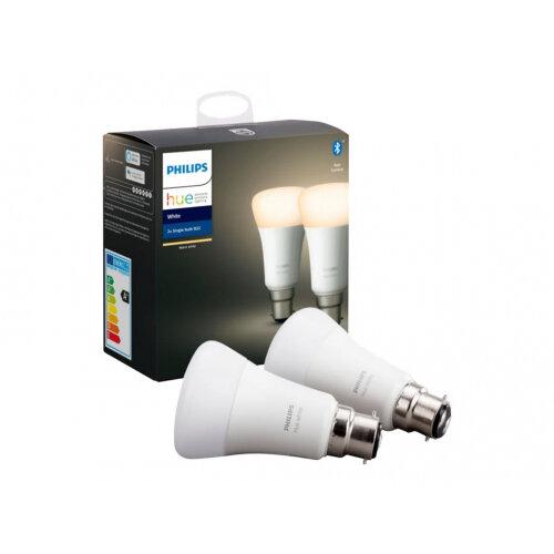 Philips Hue - LED - shape: A60 - B22 - 9 W (equivalent 60 W) - class A+ - soft white light - 2700 K (pack of 2)