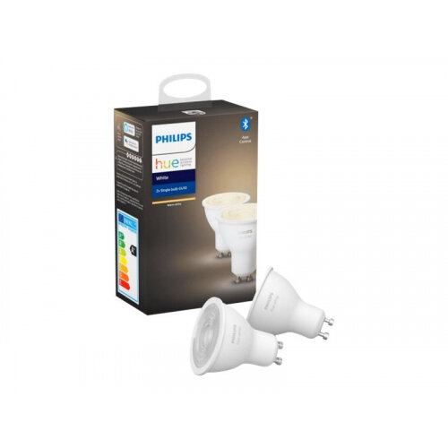 Philips Hue - LED light bulb with reflector - GU10 - 5.2 W (equivalent 57 W) - class A+ - soft white light - 2700 K (pack of 2)