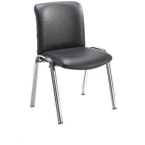 Avior Conference High Back Chrome Chair Black PU KF72262