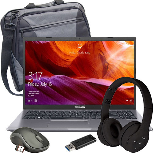 Back to School Bundle Kit - ASUS Laptop Core i3, Bluetooth Computer Headset, Laptop Bag, USB Stick 32GB, Wireless Mouse - Home Schooling Bundle