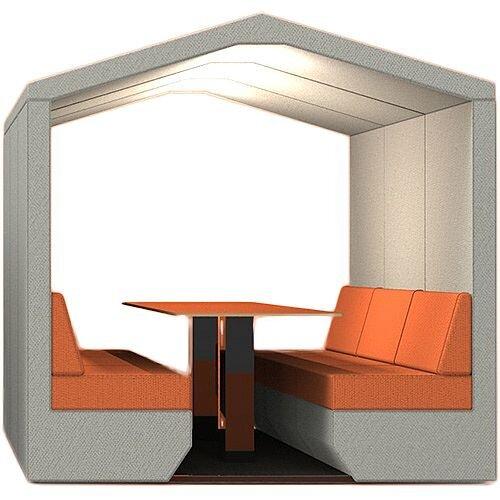 Meeting Den BEA Grey &Orange 6 Seater