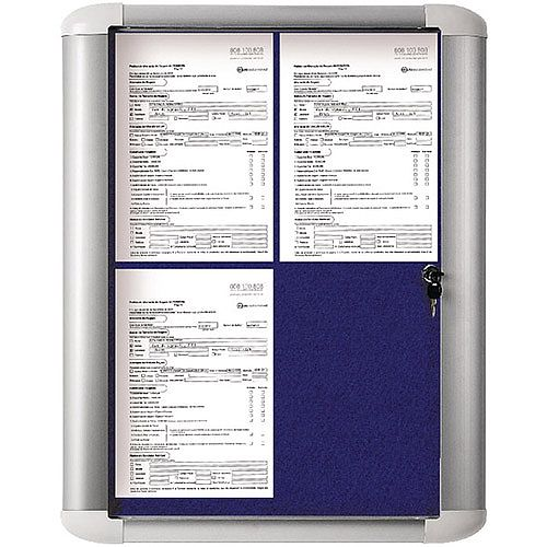 Bi-Office External Display Case 600x450mm Blue Felt Aluminium Frame VT610107230