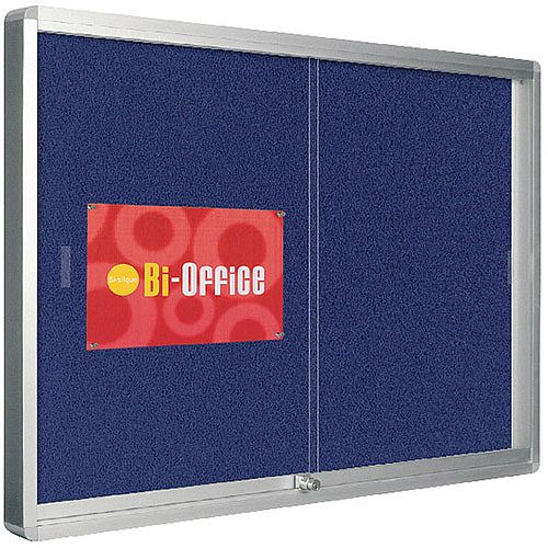 Bi-Office Lockable Glazed Display Case 1000x700mm Blue Felt Aluminium Frame VT690107160