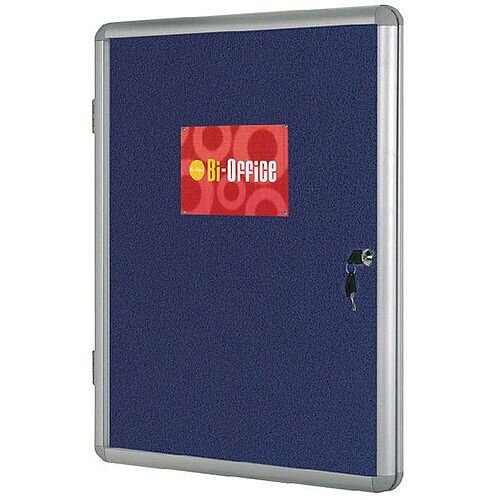 Bi-Office Lockable Internal Display Case 900x600mm Blue Felt Aluminium Frame VT630107150