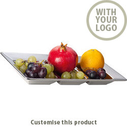 """3- Piece Chrome- Bowl """"parma"""" Squared 113466 - Customise with your brand, logo or promo text"""