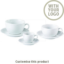 Bowl Shape Cup &Saucers 171443 - Customise with your brand, logo or promo text