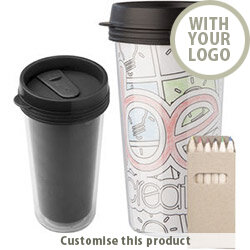 Colouring Thermo Travel Mug With 6 Colouring Pencils 196217 - Customise with your brand, logo or promo text