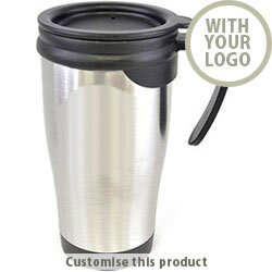 Dali Silver Black Stainless Steel Double Walled Travel Mug 701106156 - Customise with your brand, logo or promo text