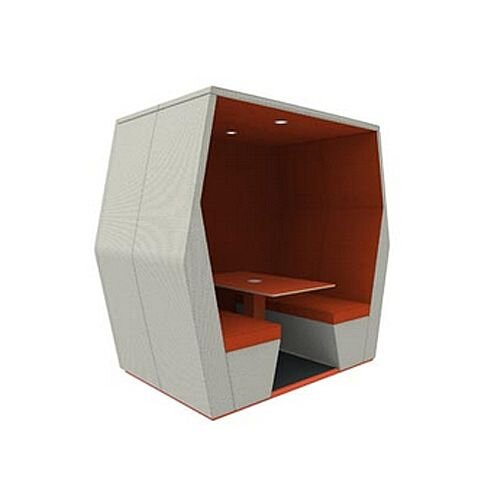 Meeting Pod BILL 4 Seater Orange &Grey With End Wall