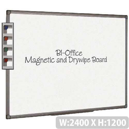 Bi-Office Magnetic Dry Erase Board 2400x1200mm Aluminium Finish Frame White