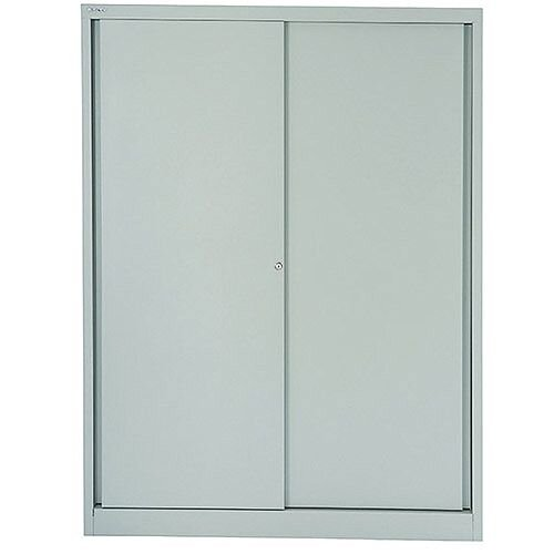Bisley Sliding Door Cupboard 4 Dual Purpose Shelves Grey - W1200 x H1980 x D430mm, 5-Year Warranty, Durable, Two Security Keys, Lateral File Storage &330mm Hanging Centres (BY36056)