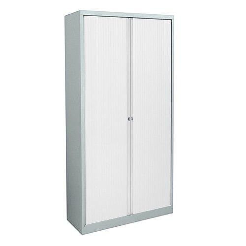 Bisley Eurotambour Cupboard ET412/19/4S W1200xH1980xD430mm with 4 shelves White Carcass &White Shutters