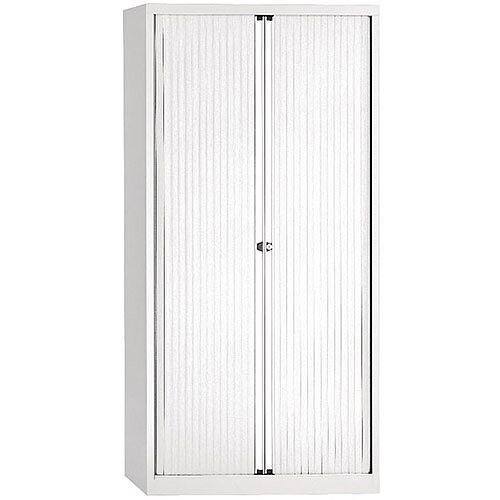 Bisley Chalk Euro Tambour for A4 White Shutter W1000 x H1980 x D430mm 4 Shelves