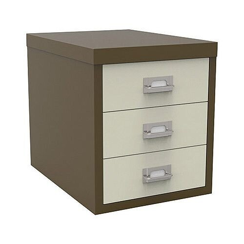 Bisley Multi-Drawer Cabinet 12 inches 3 Drawer Non-Locking Coffee/Cream 12/3