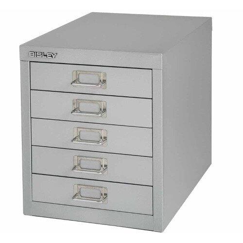 Bisley Multi-Drawer Cabinet 12 inches 5 Drawer Non-Locking Goose Grey 12/5