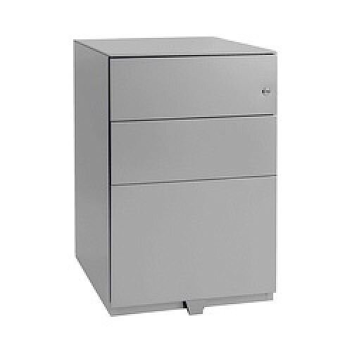 Bisley Note Pedestal Free Standing 2 Stationery 1 Filing Drawers Grey