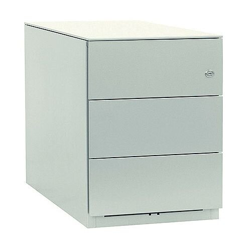Bisley Note Pedestal Mobile 3 Stationery Drawers Chalk White