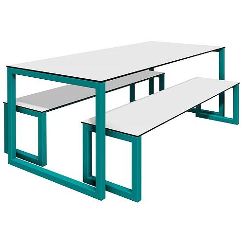 Block Steel Outdoor Canteen Table and Benches